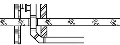 Les raccordements sur les conduites horizontales sont de préférence étagés, avec deux angles de 45° et une pièce intermédiaire de 25 cm
