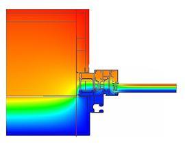 thermografisch beeld van een muuraansluiting. In de dagkant is een rolluikgeleider voorzien. De lineaire verlieswaarde bedraagt 0,08W/(m²K)