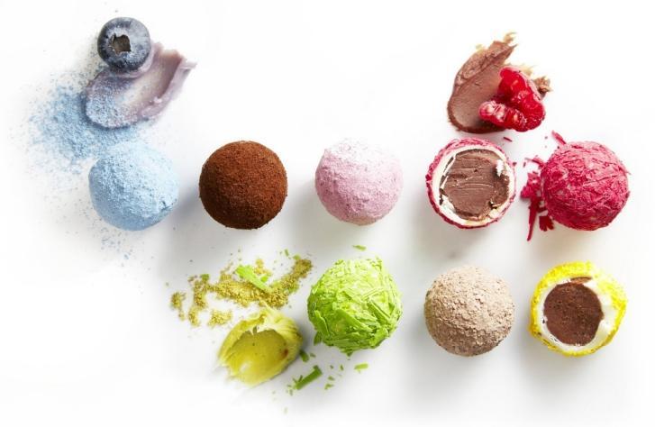 Vrolijke variaties op de klassieke truffel (Callebaut)
