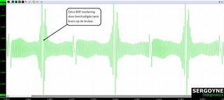 Metingen met de scopeset onthullen een extra BDP-markering ten gevolge van een beschadigde tandkrans op de krukas