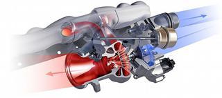 De uitlaatgassen drijven een turbine aan die op haar beurt een compressor aandrijft. Die perst dan lucht onder druk in de motor