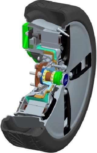 Opbouw van een wiel met E-Wheel Drive van de derde generatie met de vermogenselektronica, de vloeistofgekoelde stator, de rotor, het wiellager, de wrijvingsrem, de controller en de behuizing