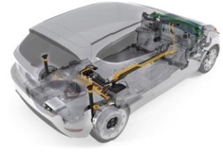 Ford Fiesta E-Wheel Drive met vooraan de luchtgekoelde lithium-ionaccu en achteraan de 12 V-accu,de voedingseenheid, de twee E-Wheel Drives op de achteras en de rapid prototyping controller
