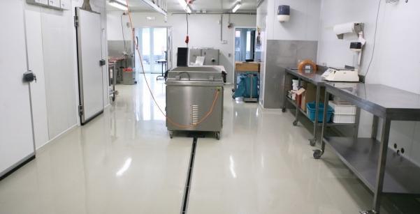 Deze (epoxy)vloer – ingestrooid met antislipschilfer – is een volledig naadloze,  waterdichte en zelfnivellerende kunststof vloer, gekleurd in de massa