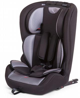 Deze antricietgrijze autostoel van Childhome (1/2/3) heeft een vijfpunts veiligheidsgordel, afneembaar verkleinkussen, verstelbare hoofdsteun en ISOFIX