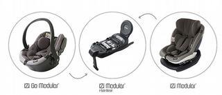 De iZi Modular i-Size van Be Safe omvat één i-Size basis met twee stoeltjes: de iZi Go Modularen de iZi Modular iSize
