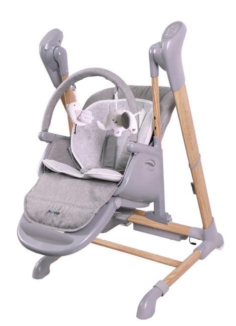 De B-Swinging High Chair Wood van Bo Jungle  valt uitgebreid met de smartphone aan te sturen