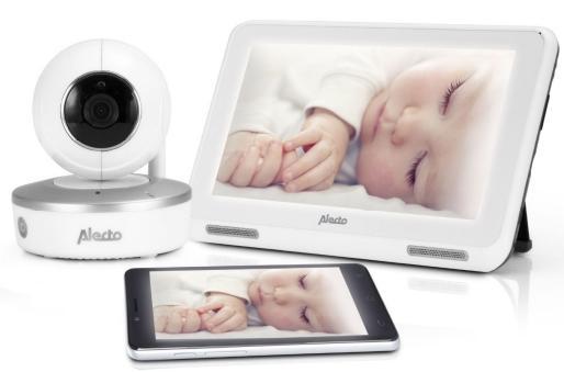 Met deze geconnecteerde babyfoon van Alecto Baby (DIVM-770) kan uw klant zijn kindje vanaf afstand zien op een bijbehorend touchscreen of in een app