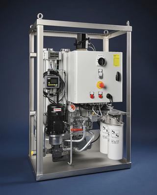 Een filterset waarin zowel een fijnfilter voor het verwijderen van kleine deeltjes uit de smeerolie als een element dat water opneemt zijn toegepast. Bron: Doedijns