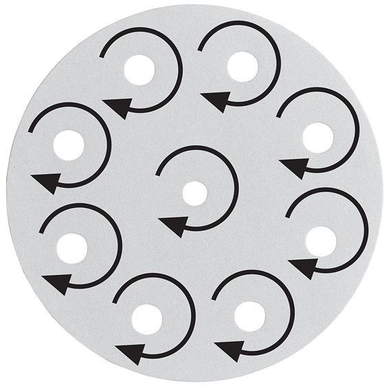 Voorbeeld van de excentrische schuurbeweging: hoe kleiner de schuurdiameter, hoe fijner het schuurresultaat
