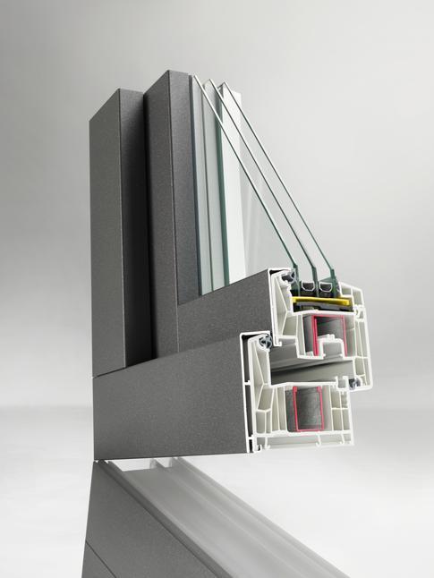 SYNEGO est un système avec un joint central coextrudé ou un joint de butée et a une profondeur d'encastrement de 80mm